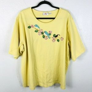 Quacker Factory Plus Size 3X Top Yellow Sequin